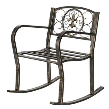 Paint Brush Gold Old Outdoor Garden Single Iron Art Rocking Chair Black Outdoor chairs Garden chairs