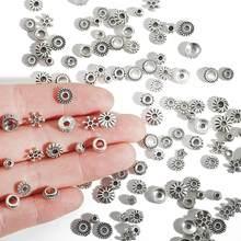 Contas de metal antiguidade tibetana, 30-200 peças 4/5/6/7/8mm, cor prata contas espaçadoras para fazer jóias, faça você mesmo pulseiras encantadoras