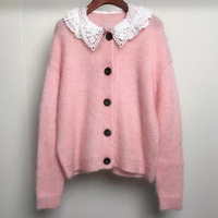 Fall / Winter 2020 New Lace Baby Collar Long Sleeve Wool Sweater Single Breasted Mohair Cardigan Coat Woman New Fahsion Style