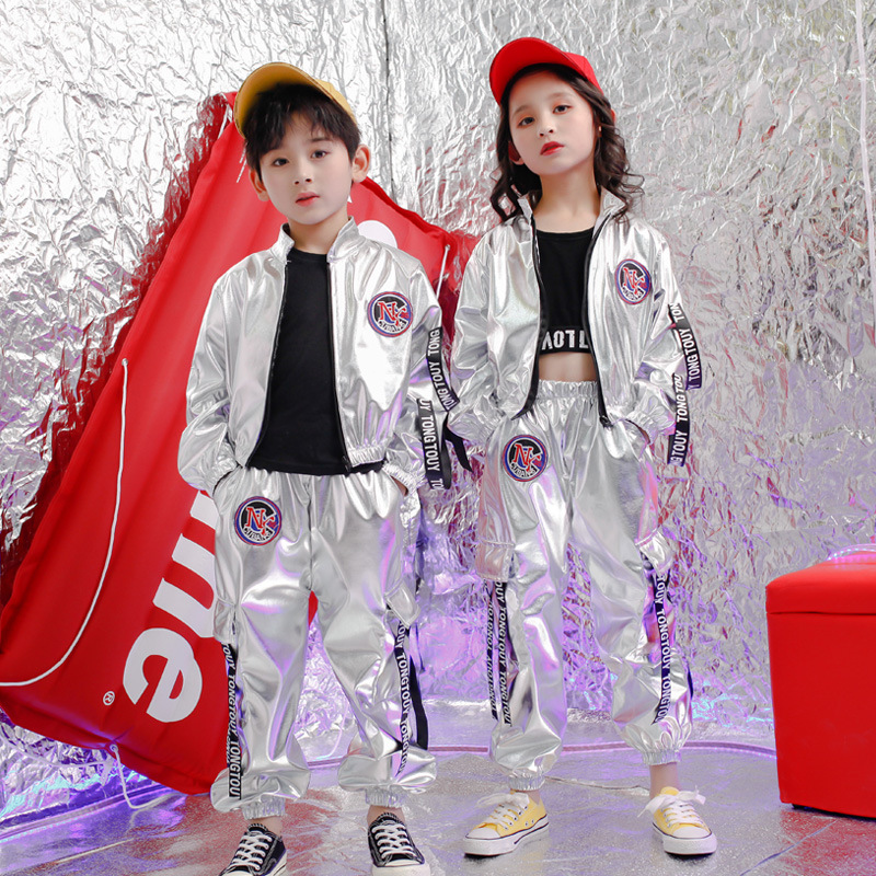 New Children Hip Hop Jazz Dance Costumes PU Silver Color Long Sleeve Jacket Coat Trousers Suit Street Dance Drum Stage Costume
