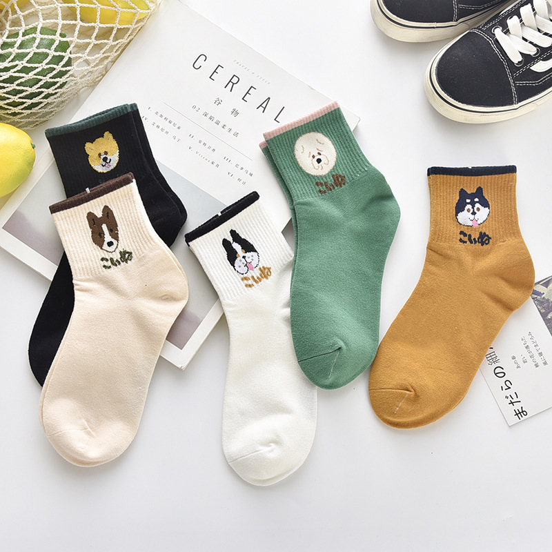 Women Cartoon Animals Harajuku Socks Dog Patterned Casual Comfortable Cotton Socks For Female Student Cheap Week Ankle Sox