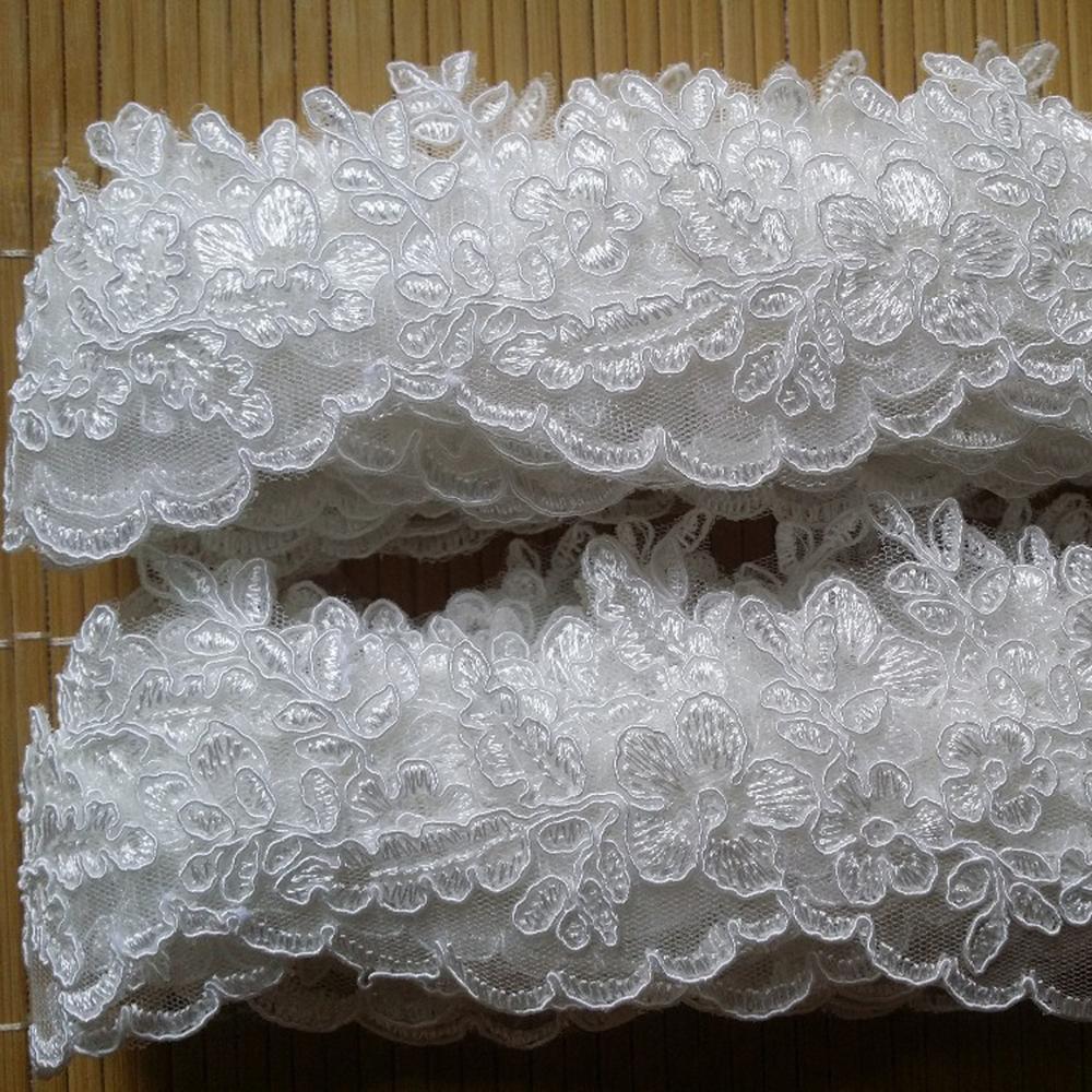 10 лет, 5 см, изящный Тюль с зубчатыми краями, сетка, кружевная отделка, вышитая ткань, с оборкой, хорошо подходит для свадебной вуали и платья