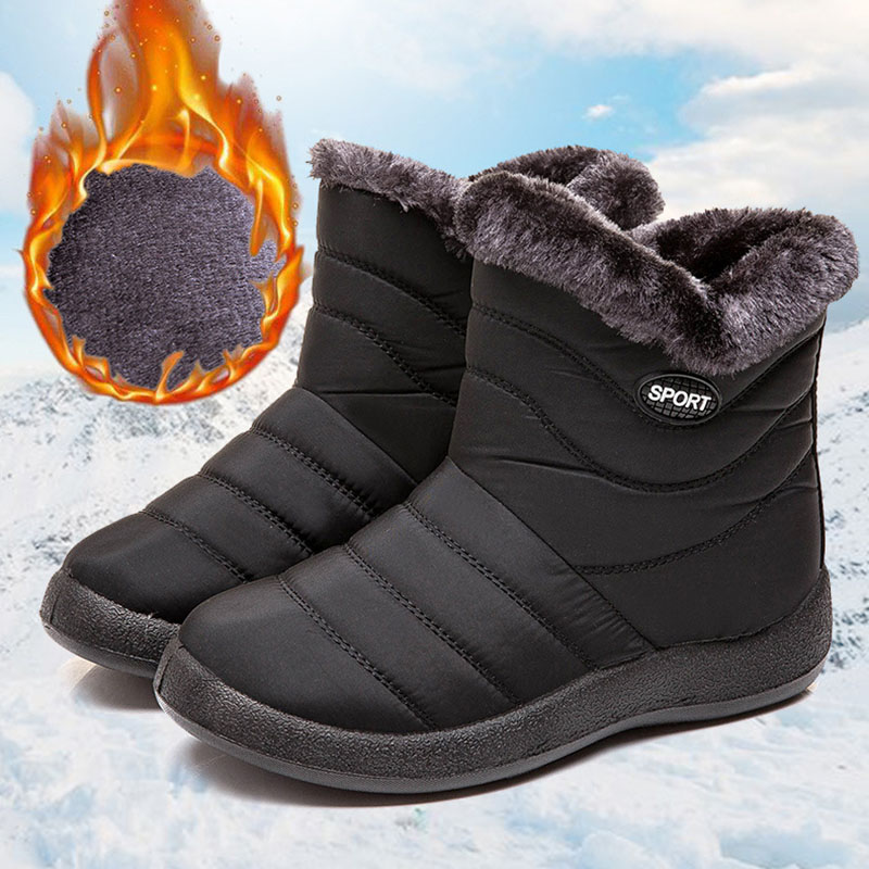 REETENE Hot Sale Women Snow Boots Non-Slip Waterproof Boots Women Thick Plush Ankle Boots Girls Ladies Work Shoes Plus Size 43 image