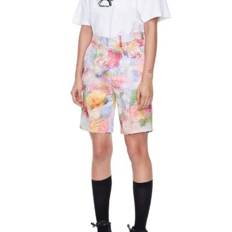 DEAT 2020 New Spring And Summer Fashion Women Clothes Half Length Pants Pocket Printed Flower Male Also Wear Pants WL69909L