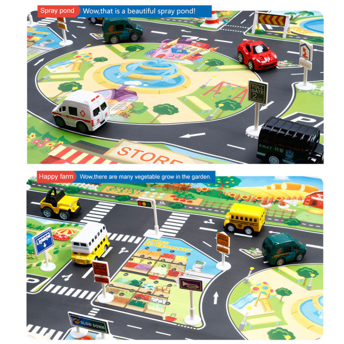 H11677a2626c243c0a04ce48668303d20U Hot Selling 130*100cm Children Play Mats House Traffic Road Signs Car Model Parking City Scene Map