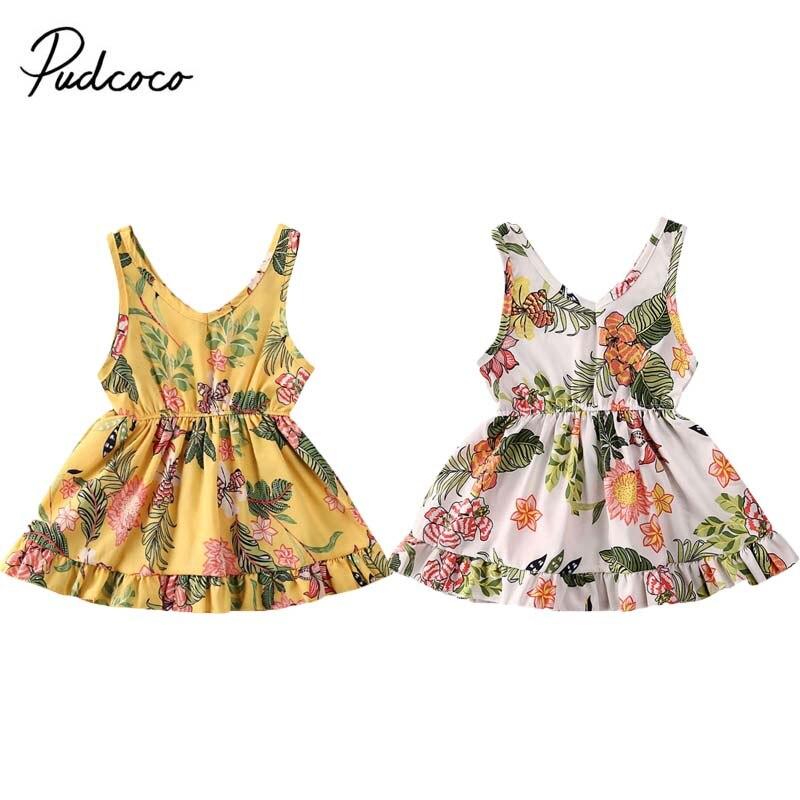 6M-4Years Sleeveless V-neck Dress For Toddler Kids Baby Girls Floral Ball Gown Dresses Summer