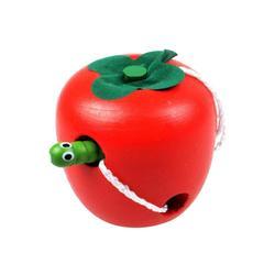 Montessori Speelgoed Houten Worm Threading Kinderen Puzzel Game Onderwijs Speelgoed-Apple