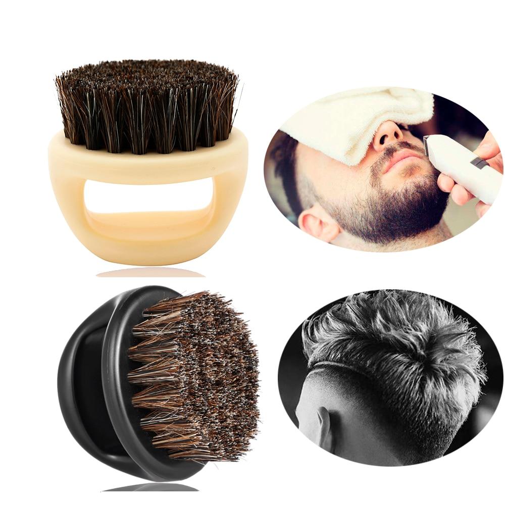 1 Pcs 100% Boar Bristle Men's Shaving Brush Portable Barber Ring Beard Brush For Facial Cleaning Mustache Tools(China)