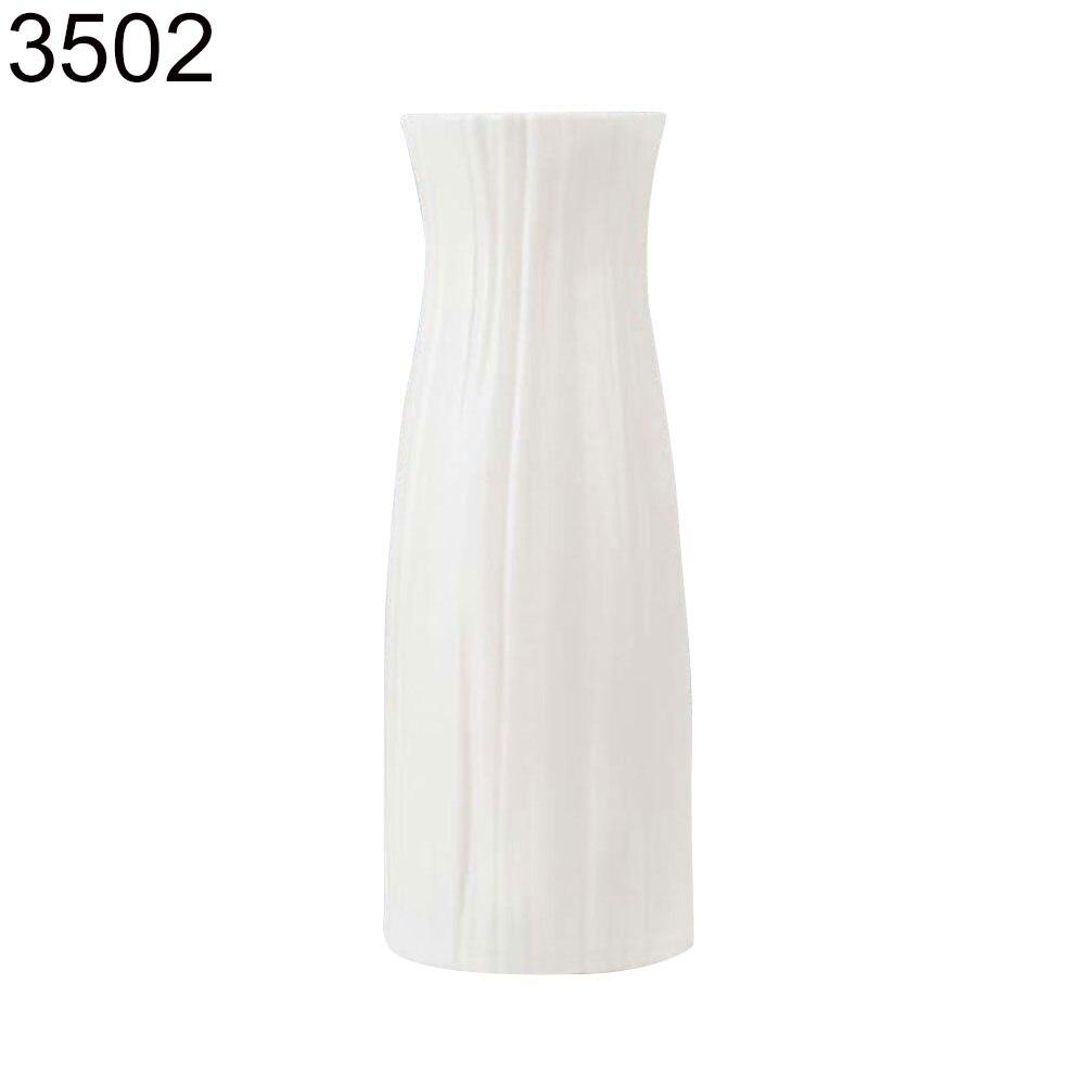 Пластиковый Небьющийся цветочный горшок ваза Современная Кабинет Прихожая Свадьба домашний офис Декор Настольная Ваза - Цвет: Milk White 3502