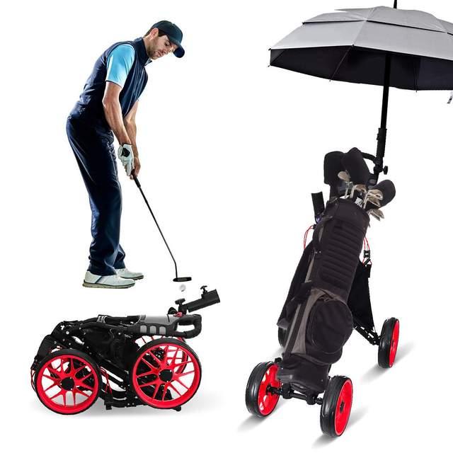 Folding Aluminum Alloy Golf Trolley 4 Wheels Golf Bag Pull Push Cart Umbrella Cup Holder Adjustable Trolley with Footbrake 2