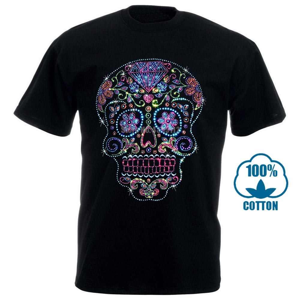 Rhinestone çıtçıt şeker kafatası T Shirt Bling moda erkek Dia De Muertos S 4Xl 011550