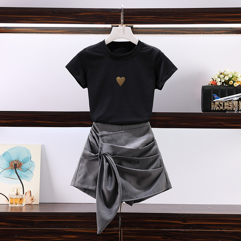 2019 Large Size Summer Wear For Women New Style Fat Mm Set Western Style Short Sleeve T-shirt And Irregular Loose Pants Skirt Tw