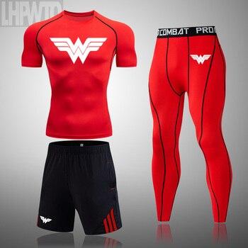 Wonder Woman Men's full Suit Compression Sport Suit Gym joggers Running Short sleeve Shirts leggings Basketball sportwear 7