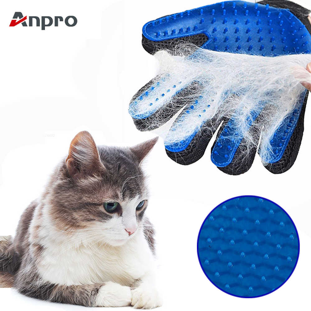 Anpro 1PC Cat Grooming Glove Pet Hair Remove Gloves Clean Deshedding Effective Massage Cat Grooming Glove Dog combs