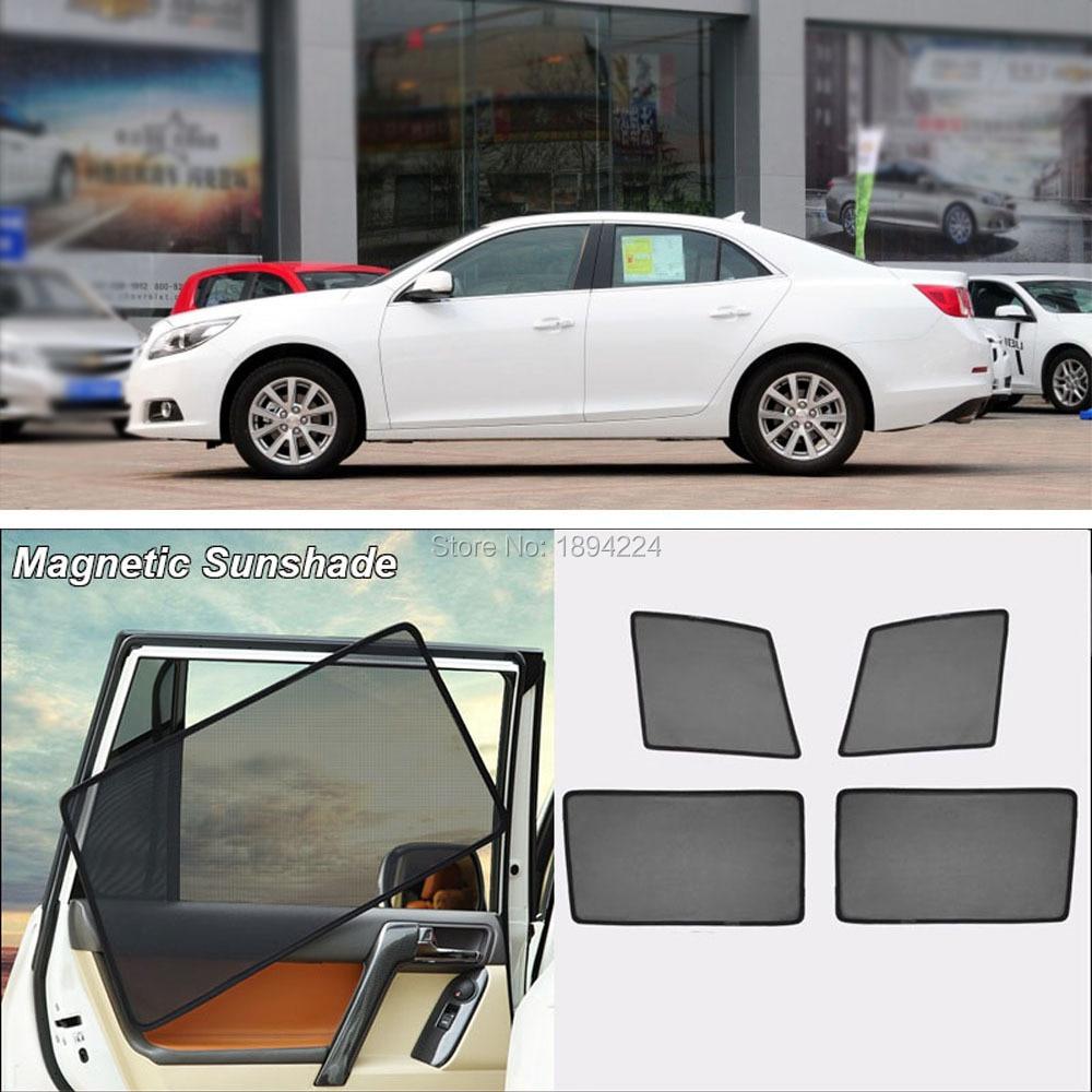 Car Full Side Windows Magnetic Sun Shade UV Protection Ray Blocking Mesh Visor For Chevrolet Malibu 2011-2015