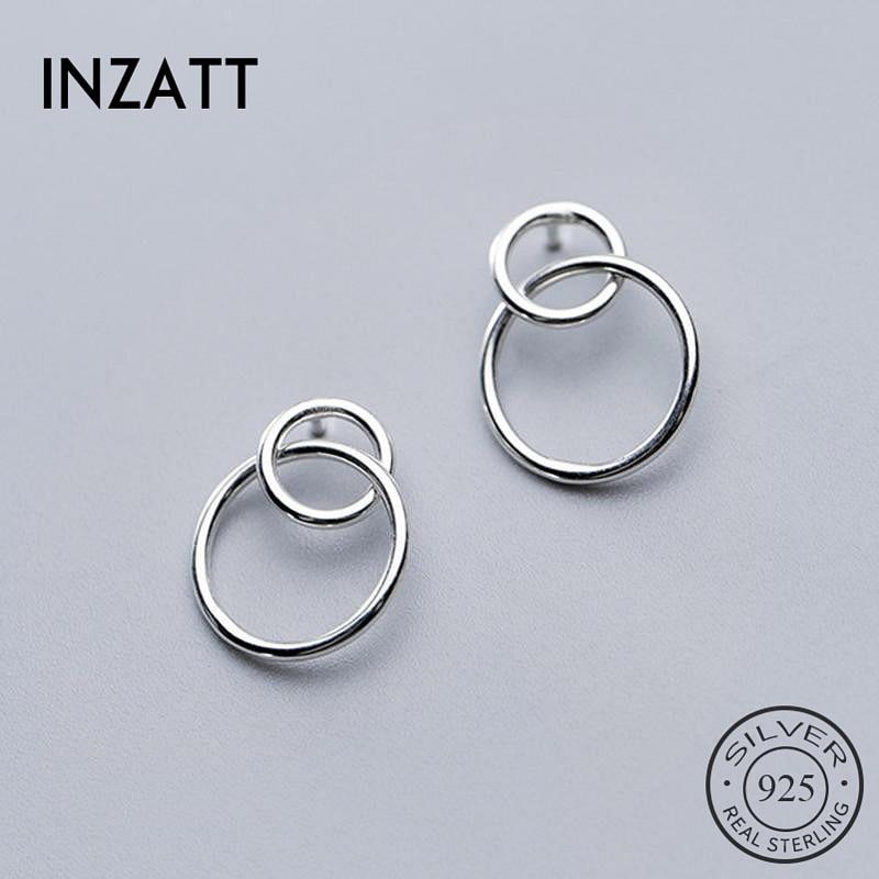 INZATT Real 925 Sterling Silver Geometric Round Stud Earrings Fashion Women Fine Jewelry Party Minimalist Cute Accessories Gift
