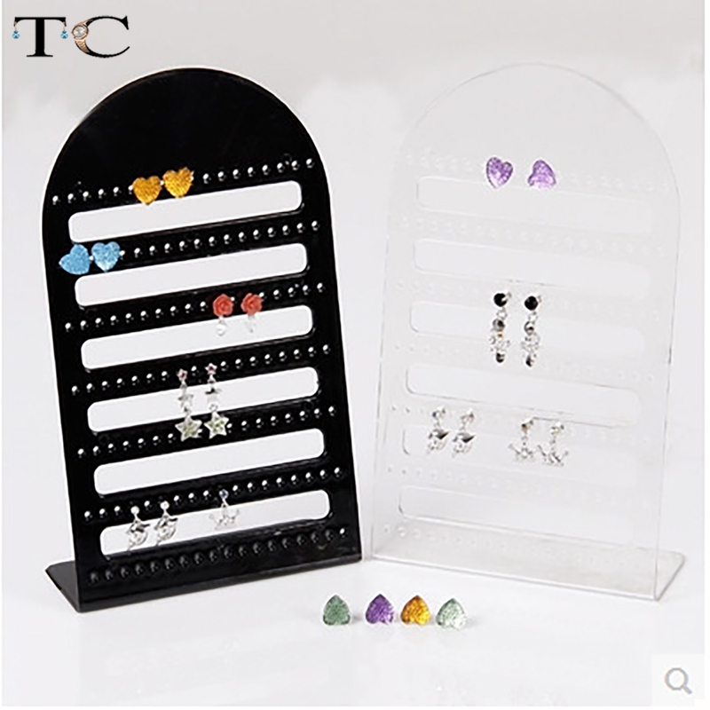 2pcs/lot 126 Holes Earring Display Stand Acrylic Showing Holder Earrings Storage Organizer Transparent Jewelry Display Holder