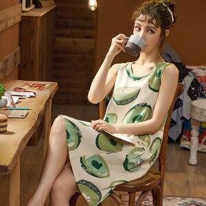 Cómoda ropa de dormir de dibujos animados para mujeres de talla grande sin mangas lindo camisón Negligee Verano de algodón camisón Casual camisón vestido de casa