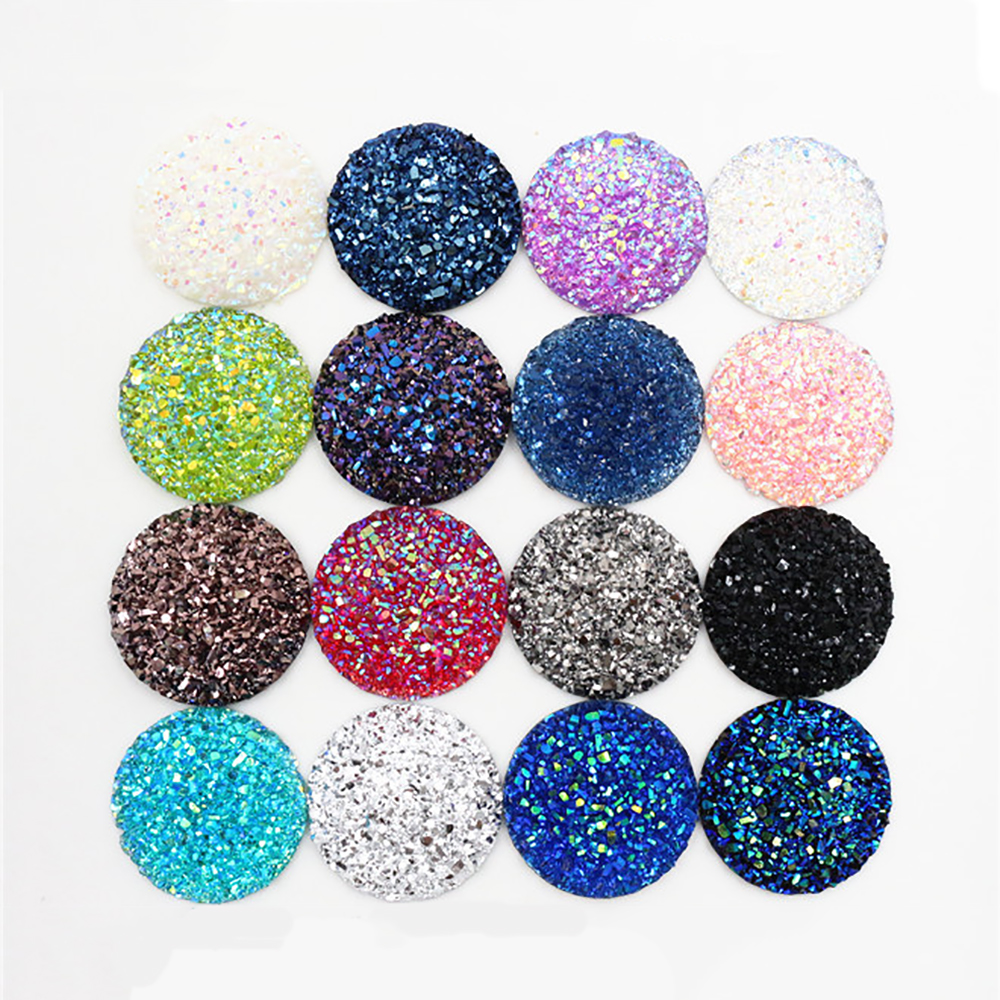 New Fashion 10pcs/lot 25mm 16 New AB Color Flat Back Resin Cabochons Cameo Supplies For Jewelry Finding
