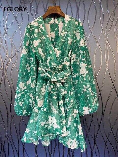 2020 Autumn New Celebrity Inspired Party Women's Dress V-Neck White Little Floral Print Belt Patchwork Long Sleeve Green Dress