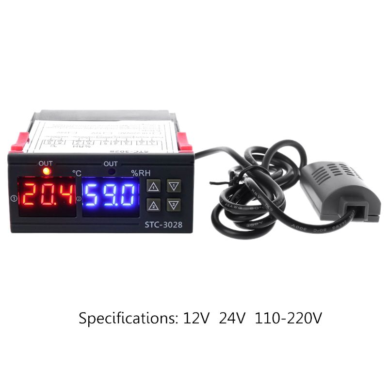 Digital Temperature And Humidity Controller Thermostat And Humidistat Double Display AC 110V 220V DC 12V 24V 10A