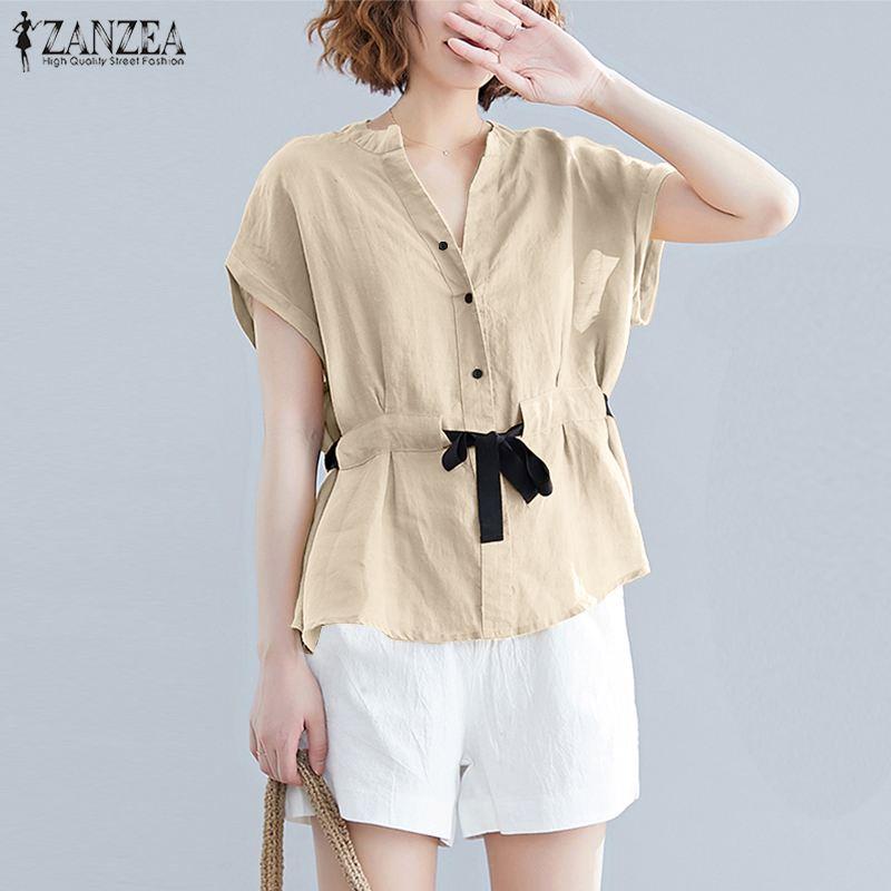 Summer Blouse Women Vintage Short Sleeve Cotton Linen Top ZANZEA Casual Lace Up Shirt Female Solid Work Blusas Plus Size Chemise