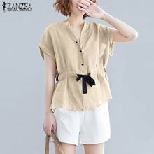 Summer Blouse Women Vintage Short Sleeve Cotton Linen Top ZANZEA Casual Lace Up Shirt Female Solid Work Blusas Plus Size Chemise(China)