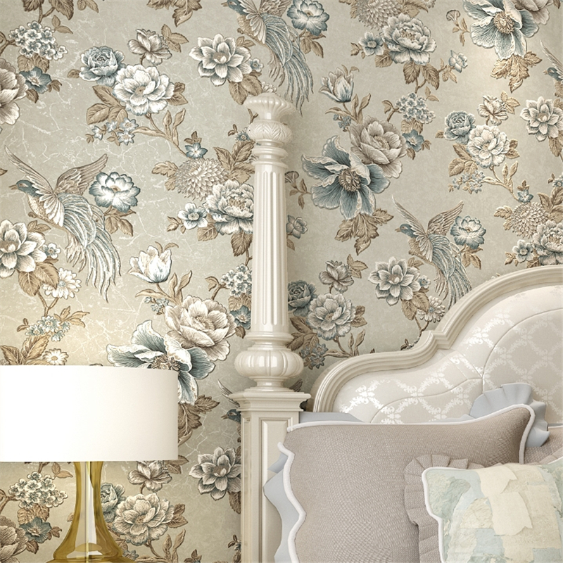 beibehang papel de parede 3D flower metallic wallpaper embossed PVC background wall wallpaper for living room