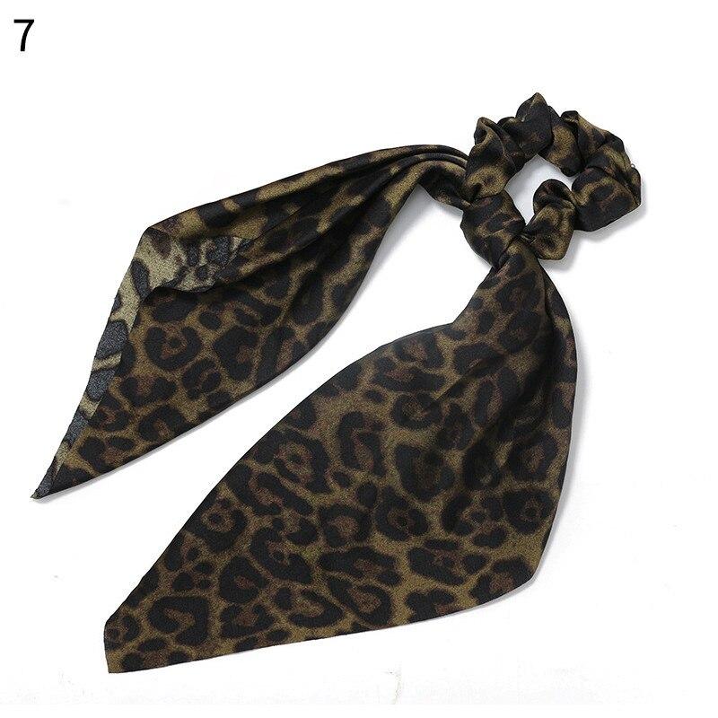 Элегантные резинки для волос с большим цветком и леопардовым принтом; эластичные резинки для волос для женщин и девочек; завязанные длинные резинки; шарф; аксессуары для волос - Цвет: New 7