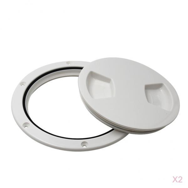 2pcs RV Boat Round Non Slip Inspection Hatch Marine Deck Plate Access, Plastic, White, 5-1/2 Inch