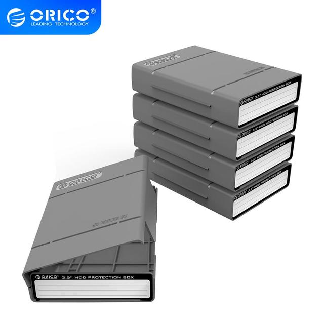 Orico אפור 3.5 אינץ HDD הגנת תיבת (5 יח\חבילה) דיסק קשיח תג מקרה עם אקו PP חומר הגנה על דיסק כונן מקרה