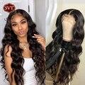 SVT индийские волнистые волосы на сетке, парик с фронтальной застежкой, 13x4, парики без повреждений из человеческих волос, предварительно запр...