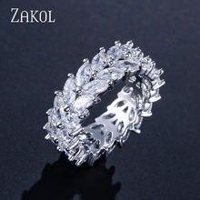 ZAKOL-Anillo de Zirconia cúbica con forma de rama de olivo para mujer, sortija, Zirconia, circonita, zirconita, corte Marquesa, 2 filas, regalo de fiesta, FSRP2020