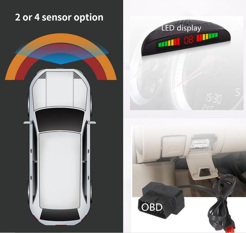 OBD Digital Front 4 Parking Sensor System LED Display W+ OBD Connector Triggered Automatically Speed Lower Than 20km/h Original