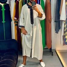 Men's Muslim Islamic Arabian Casual Long Sleeve Men's Thobe Robe Loose Dubai Saudi Arabia Men's Summer and Autumn Clothing 2021