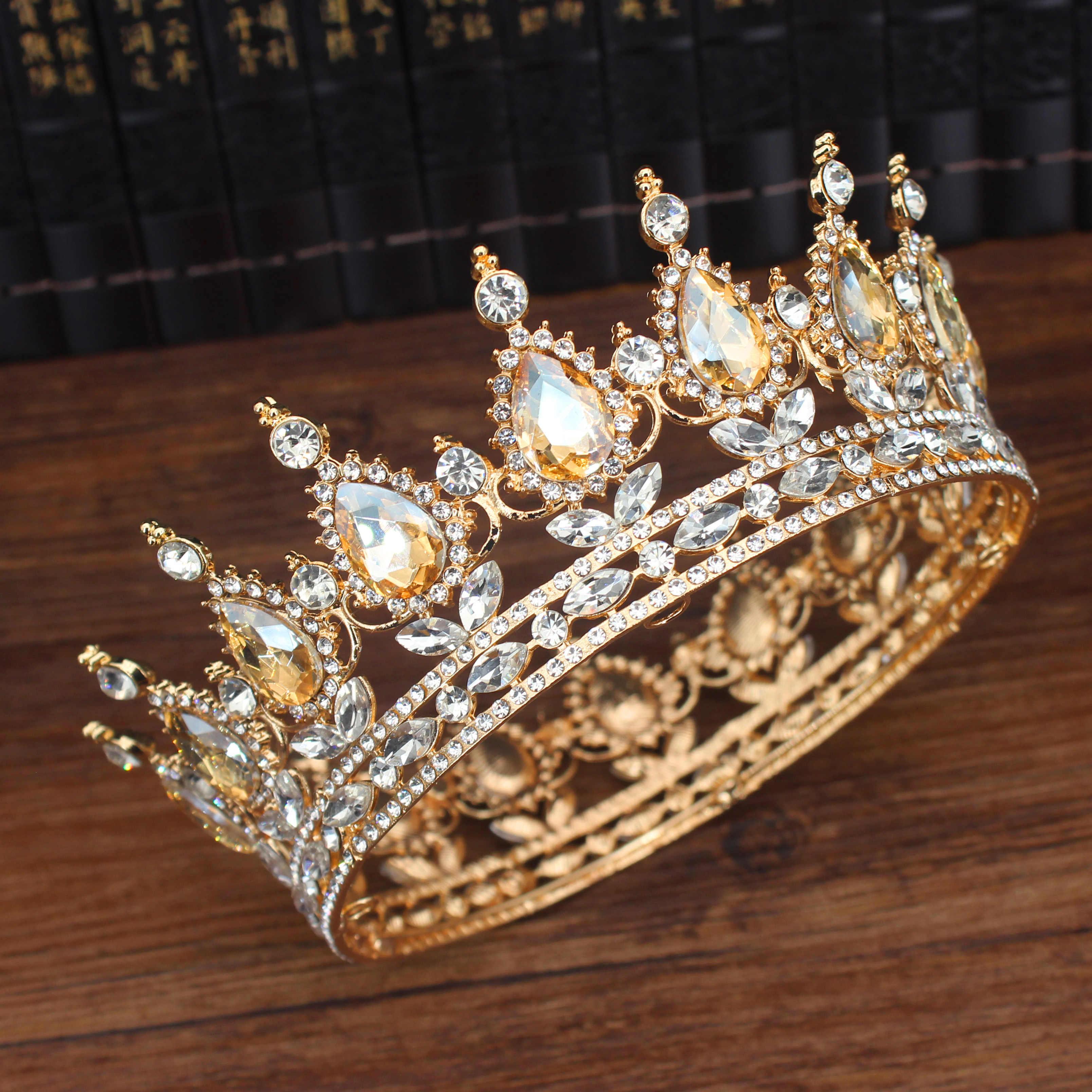 Vintage Barocco Queen Re Sposa Tiara Corona Per Le Donne Copricapo Promenade di Cerimonia Nuziale Nuziale Diademi e Corone Accessori Dei Monili Dei Capelli