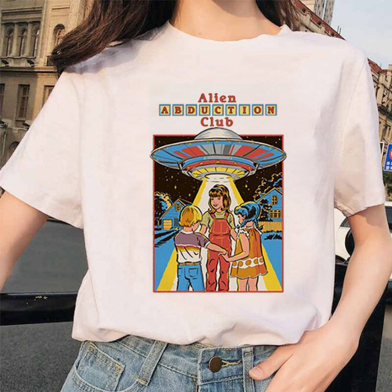 MLCRIYG 90s Fashion T Shirt Women Cartoon Print Short Sleeved O-neck T-shirt Vintage Vogue Ullzang Tshirt Harajuku Top Tees