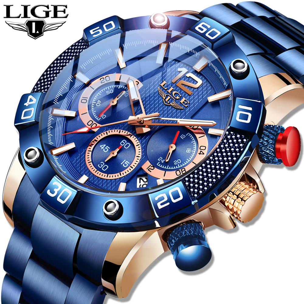 LIGE 2020 New Fashion Blue Mens Watches Top Brand Luxury Clock Sports Chronograph Waterproof Quartz Watch Men Relogio Masculino 1