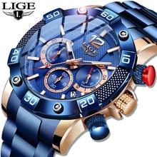 LIGE 2021 New Fashion Blue Mens Watches Top Brand Luxury Clock Sports Chronograph Waterproof Quartz Watch Men Relogio Masculino