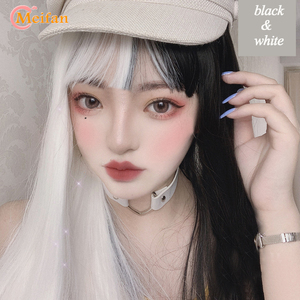MEIFAN Lolita Long Straight Black Mixed White/Blond Ombre Wig with Bangs Cute Synthetic Heat Resistant Cosplay Party Wig