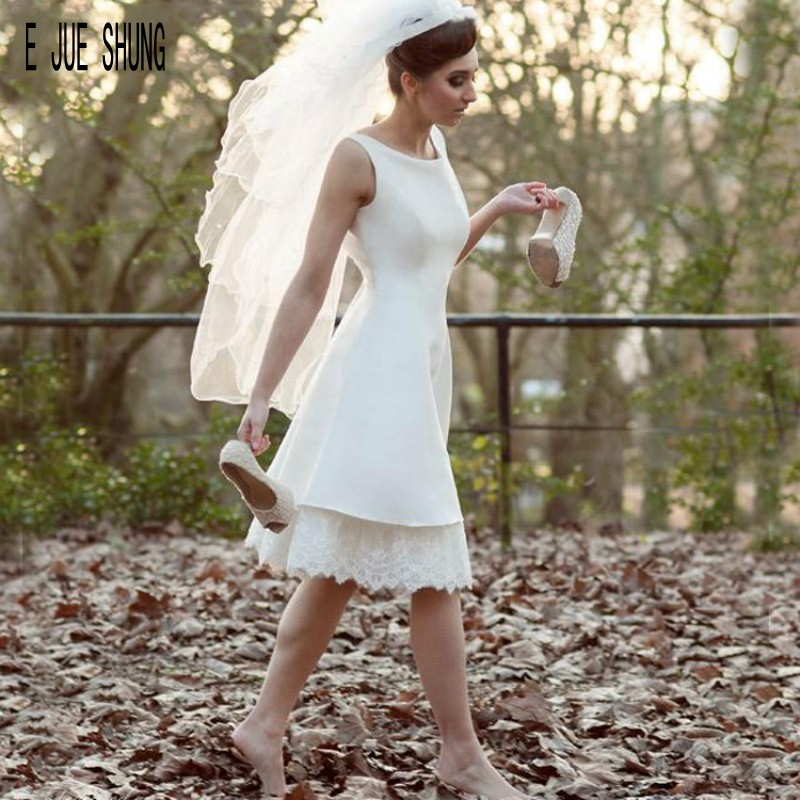 E JUE SHUNG Simple Short Satin Wedding Dresses Scoop Neck Sleeveless Backless Knee Length Beach Bridal Gowns Robe De Mariee