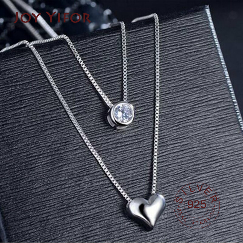 925 sterling Silver Necklace Double Layer Chain Zircon Heart Pendants Necklaces For Women kolye Choker