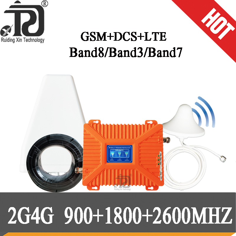 4g Repeater 900 1800 2600 Tri Band Signal Booster GSM UMTS LTE DCS BAND 3 BAND 7 Cellular Repeater Amplifier