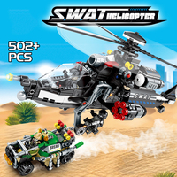 502PCS City Police SWAT the Helicopter Hunting Break out Model Building Blocks Bricks War Toys Figures Educational Children Gift