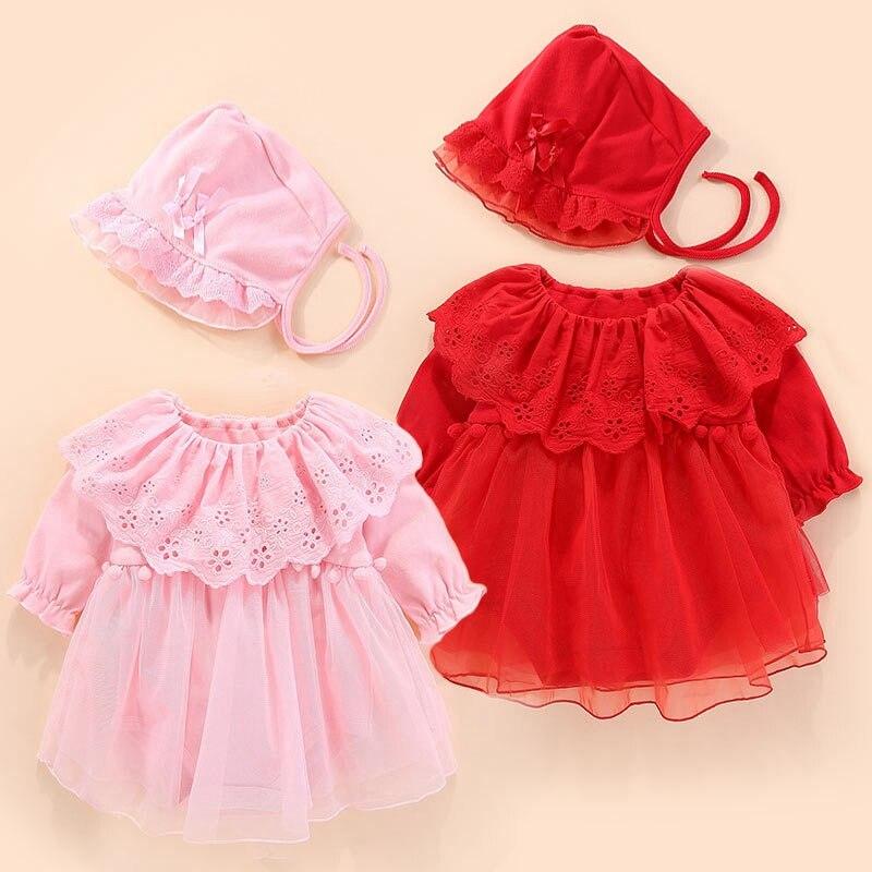 Newborn Girls Clothes Set Tutu 100% Cotton Dress+Cap Baby Girl Clothing Baptism Firts Birthday Outfits Princess Girl Costume