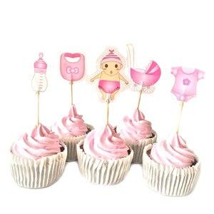Image 5 - 12/18/20 stücke Baby Dusche Cupcake Topper Junge Mädchen Taufe Blau Geburtstag Party Dekorationen Kinder Festliche Ereignis Partei Liefert