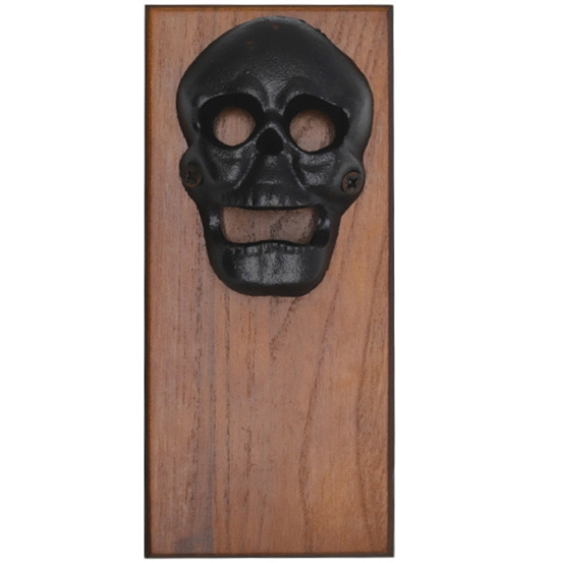 Wall Mounted Bottle Opener Magnet For Fridge Skull Cast Iron With Strong Magnetic Cap Catcher Beer Bottles Opener Wall Mount