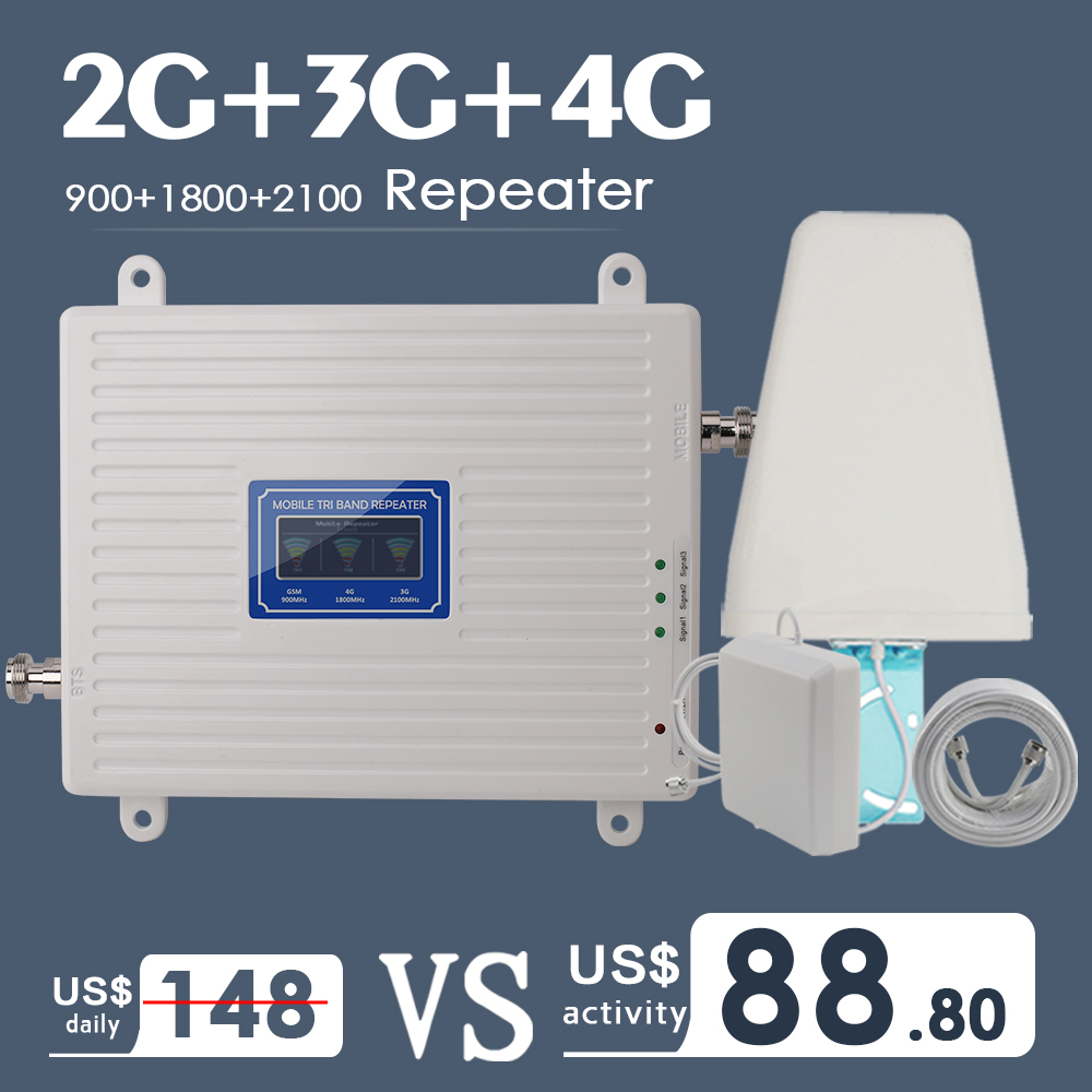 2G 3G 4G Tri Band Cellular Signal Booster Amplifier GSM 900 4G LTE 1800 B3 3G WCDMA 2100 B1 Cell Phone Signal Amplifier Repeater