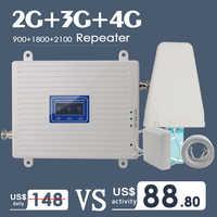 2G 3G 4G Tri banda Amplificador de señal móvil amplificador GSM 900 4G LTE 1800 B3 3G WCDMA 2100 B1 amplificador de señal para teléfono móvil repetidor