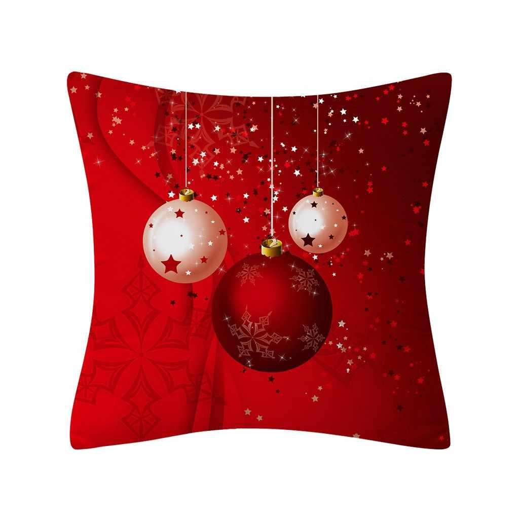 쿠션 커버 크리스마스 트리 인쇄 레드 반짝이 폴리 에스터 소파 던져 베개 케이스 홈 장식 코지 decorativos 파라 sof